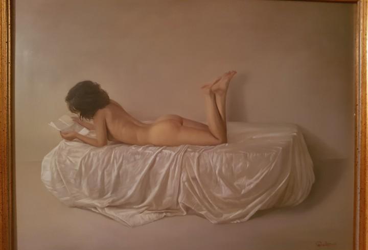 Oleo sobre tabla del pintor jose parrales, esta enmarcado