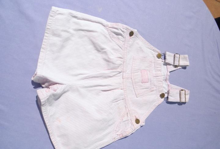 Pantalón peto rayas rosas, para muñeca bebé o reborn