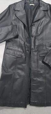 Abrigo cuero negro mujer t 40