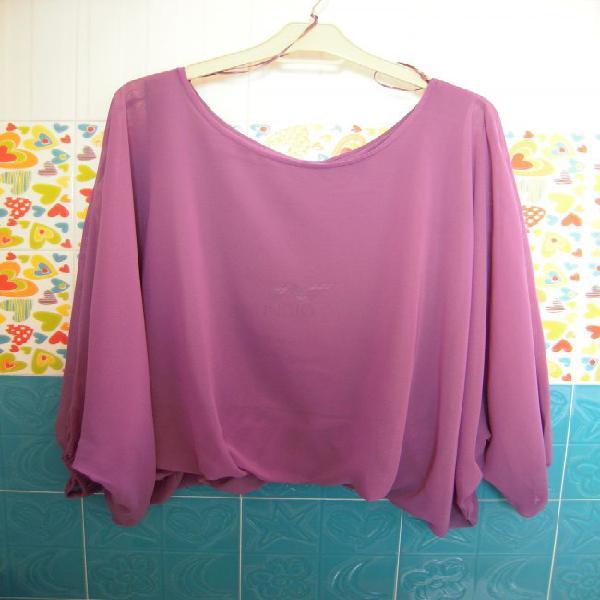 Blusa manga larga vaporosa lila talla 42
