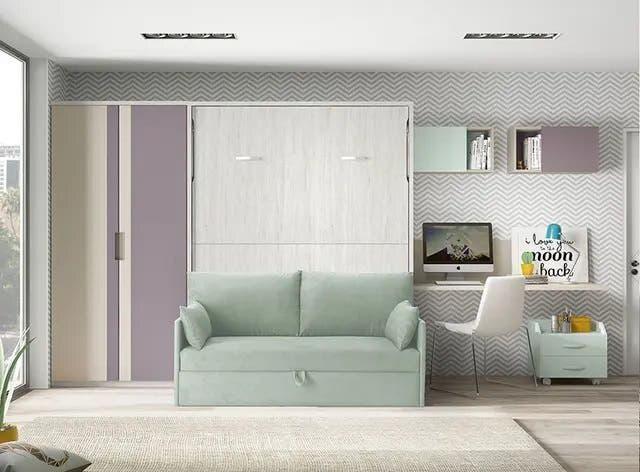Cama abatible con sofa 150 frm
