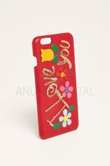 Carcasa iphone 6 plus piel roja decorada dolce y gabbana