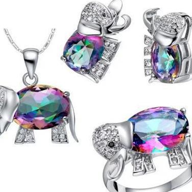 Colgante pendientes anillo elefante multicolor
