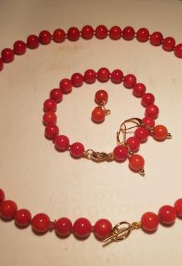 Collar pulsera pendientes coral rojo italiano