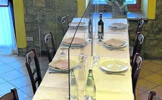 Separacion, mampara de policarbonato, cristal