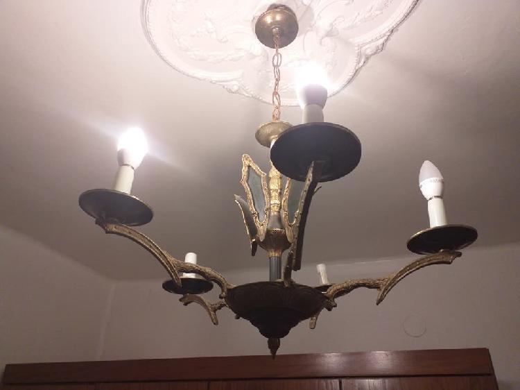 Lampara antigua de araña de bronce