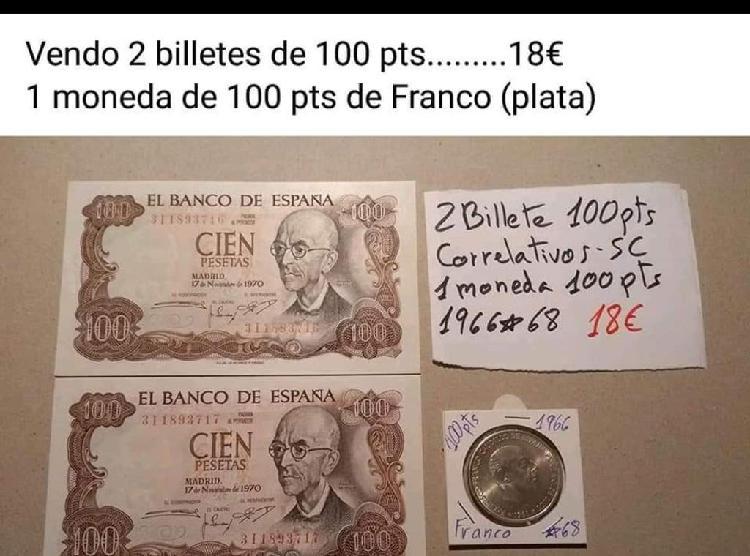 Lote de dos billetes y una moneda