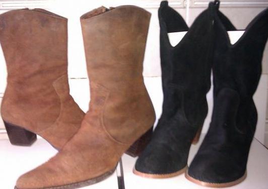 2 botas piel- modabella (negro,marrón) 40