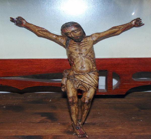 Interesante talla de madera, cristo, rasgos indigenas, siglo