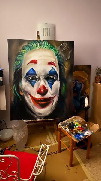 Joker sobre tabla 120x100cm