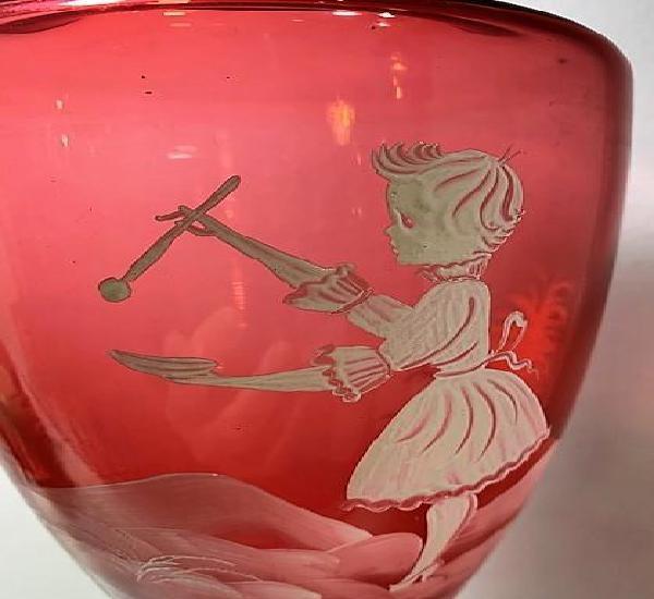 Mary gregory, jarrón con esmalte.