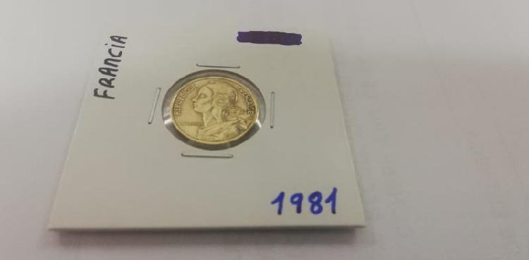 Moneda 5 cent. franco (año 1981)