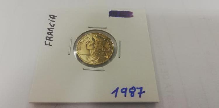 Moneda 5 cent. franco (año 1987)