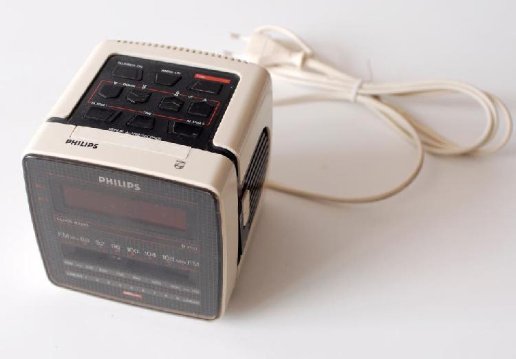 Radio reloj despertador vintage philips blanco