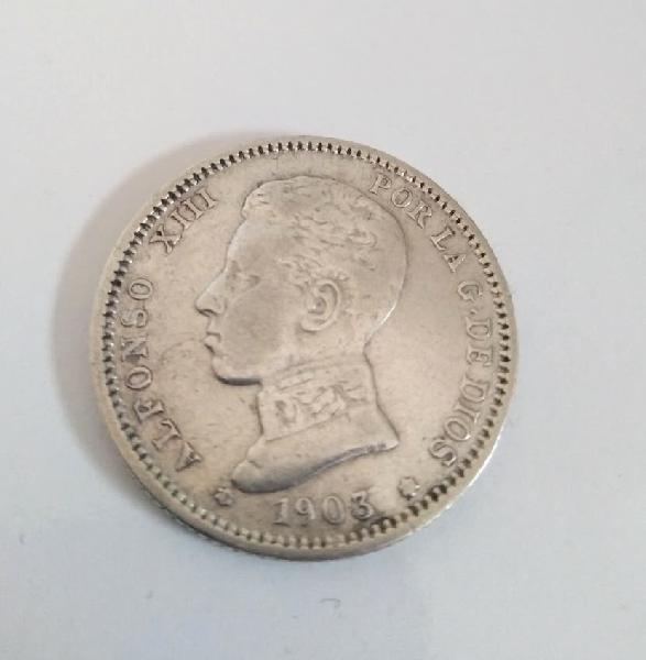 Moneda alfoso xiii 1 peseta de plata
