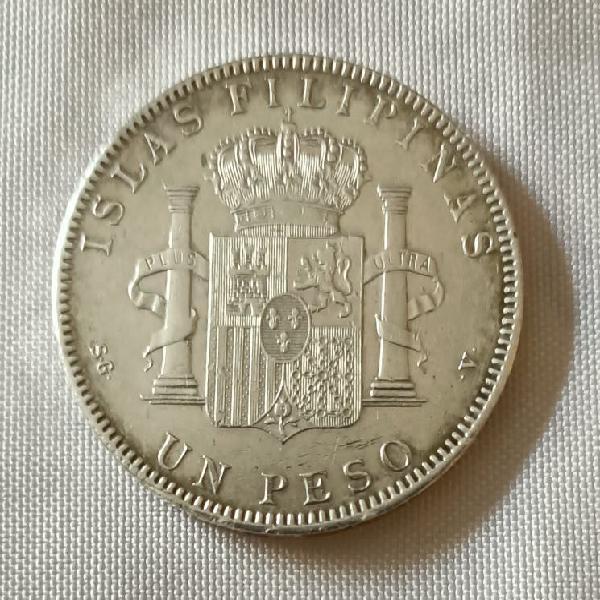 Moneda 1 peso de plata año 1897 islas filipinas