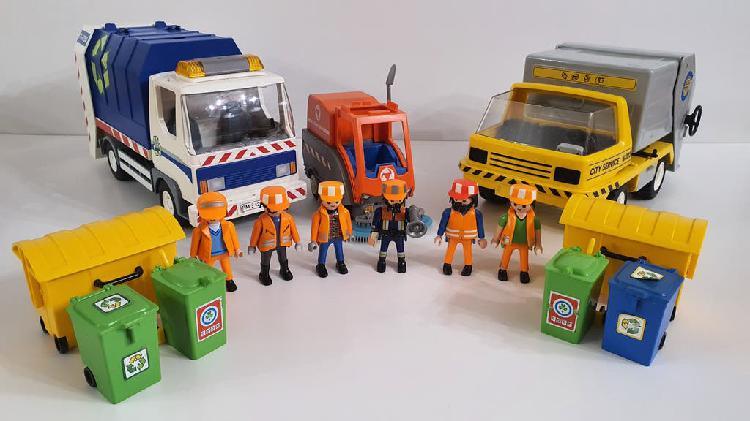 Set playmobil camiones reciclaje + barredora