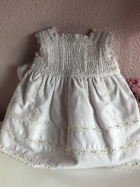 Vestido piqué blanco t 6-12 meses