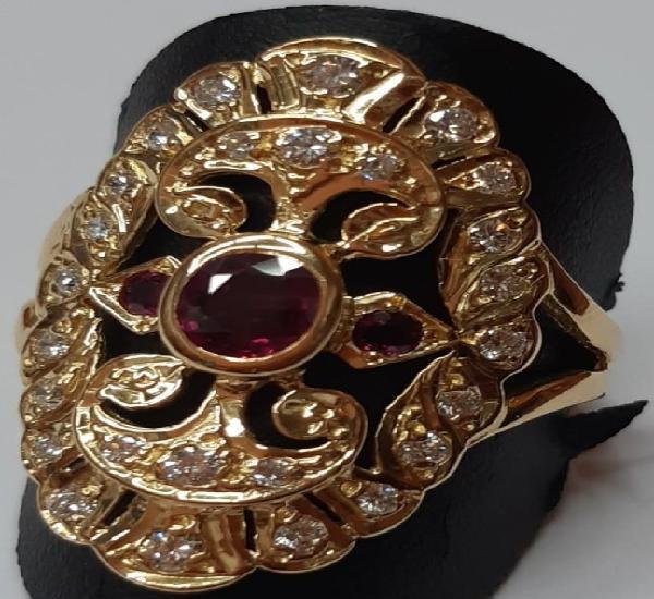Anillo filigrana de oro 18 k con piedras preciosas naturales