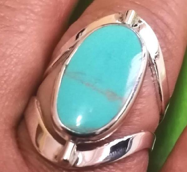 Elegante anillo de coral y turquesa *** reversible (eje