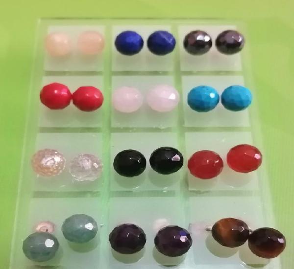 Lote 12 pares pendientes piedras minerales facetadas