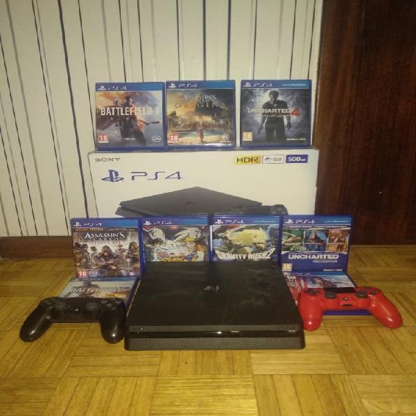 Playstation 4 + 11 juegos + 2 mandos + 2 cuentas