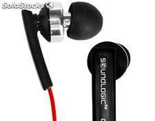 Auriculares planos con micrófono y regulador de volumen