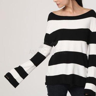 Jersey manga campana blanco y negro talla m