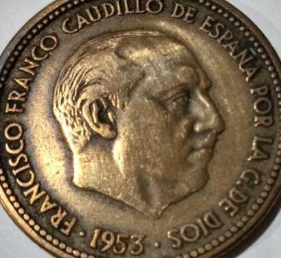 Moneda: 2,5 pesetas franco 1953 *54