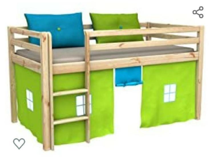 Cama alta de madera para niños