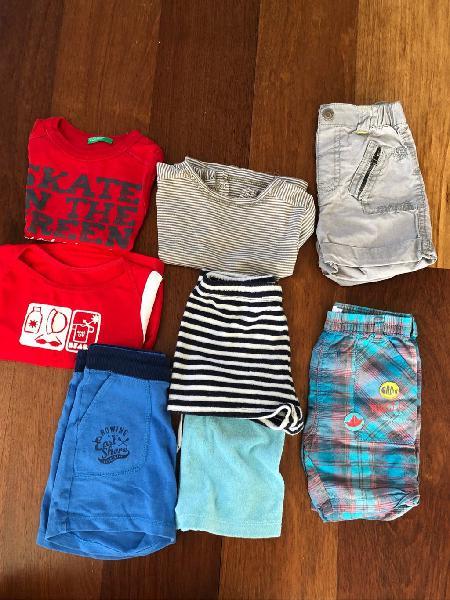 Lote de ropa 12m-camisetas y pantalones cortos