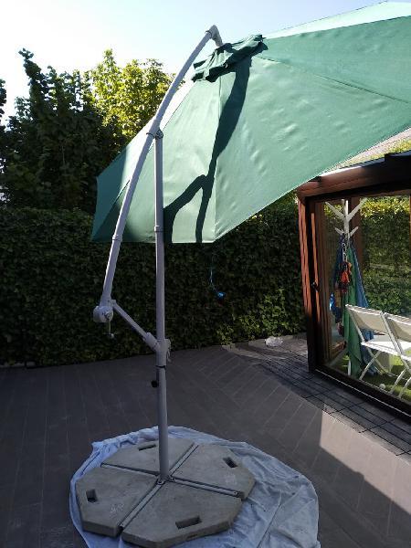Parasol excéntrico con manivela + pie completo