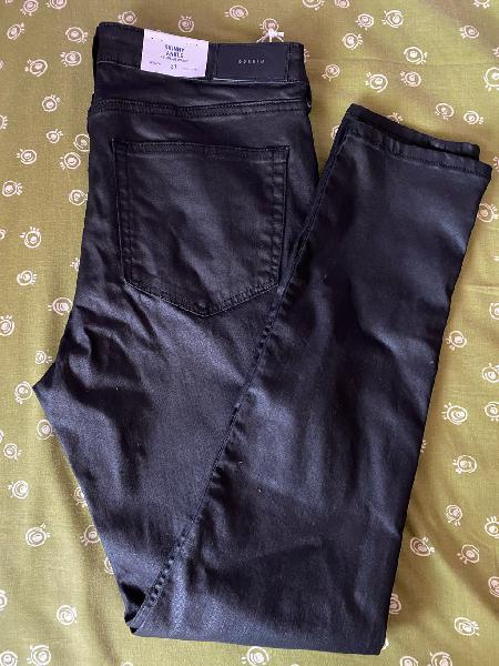 Pantalon negro brillante pitillo h&m