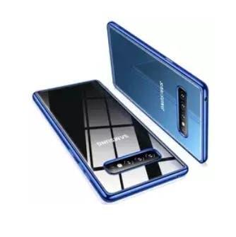 Resistente funda transparente y azul de silicona