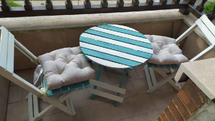 Conjunto mesa y 2 sillas vintage terraza