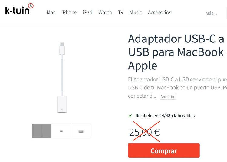 Adaptador apple macbook usb-c a usb original nuevo