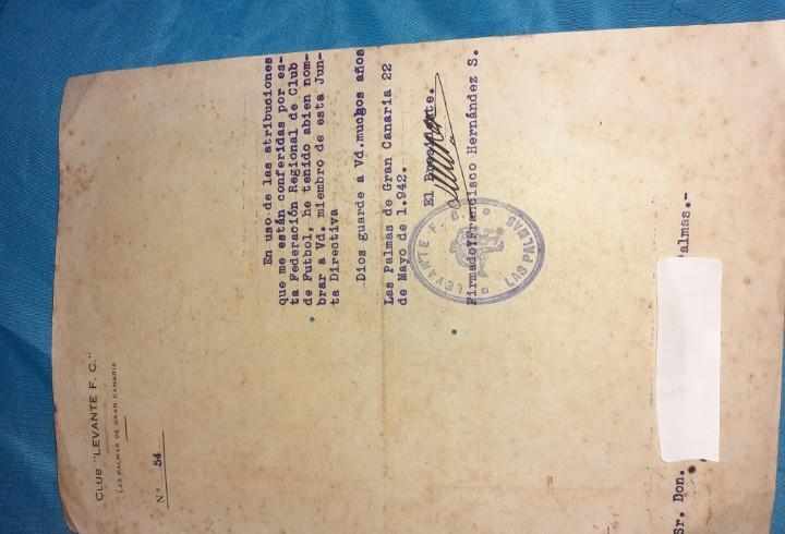 Antigua hoja de fútbol del levante f.c las palmas año 1942
