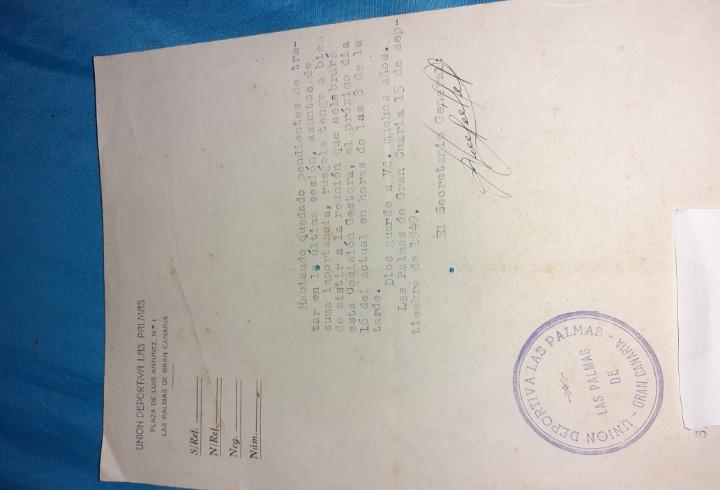 Antigua hoja unión deportiva las palmas año 1949,reunión