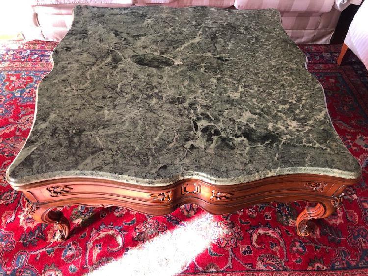 Mesa de centro madera maciza y mármol