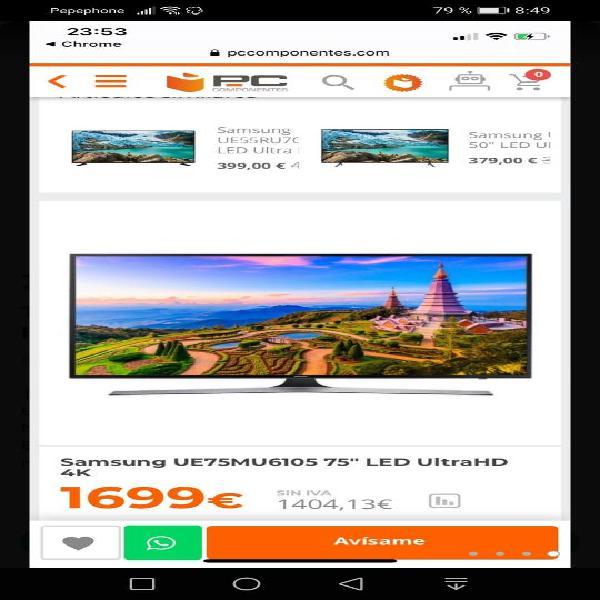 "Tv samsung 75"" uhd 4k, hdr, nueva!!!!"