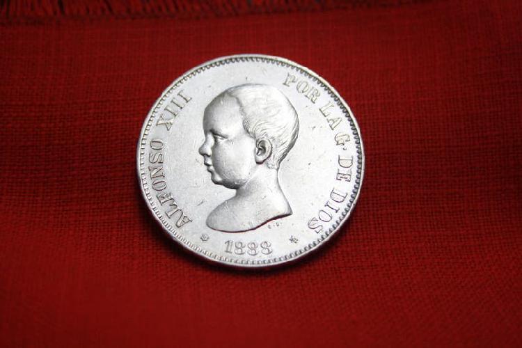 Moneda 5 ptas. alfonso xiii 1888*18/88 s/c