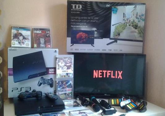 "Tv led 24""ps3 con neflix ascao no negocio"