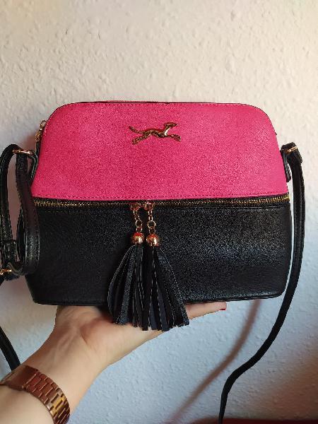 Bolso cruzado rosa y negro