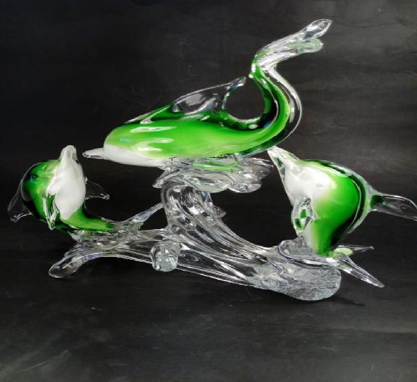 Conjunto escultórico. delfines en cristal murano. somerso,