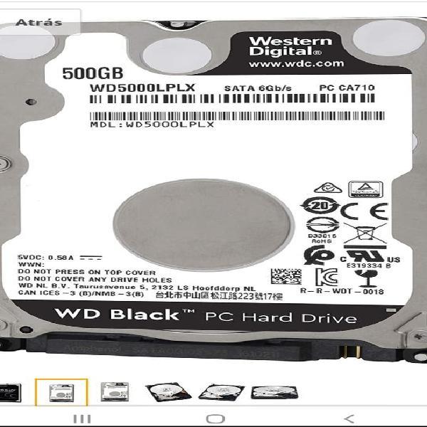 Hdd 2'5 500gb 6gb/s nuevo western digital black