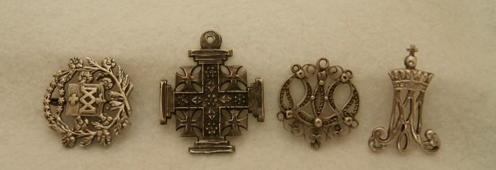 Lote de 4 piezas plata emblemas religiosos ver fotos