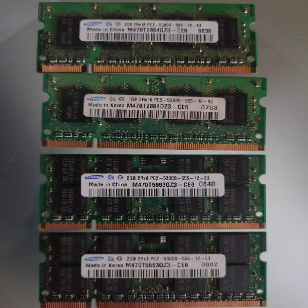 Memorias ram ddr2 portátil (2gb y 1gb)