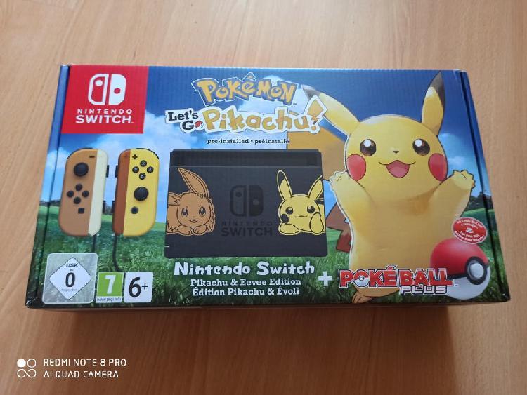 Nintendo switch edición pikachu + pokeball plus
