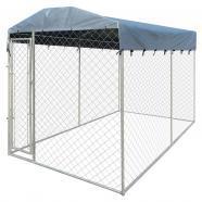 Perrera resistente para exteriores con toldo, 200 x 400 x
