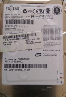 Disco duro fujitsu 80gb 2,5 sata.